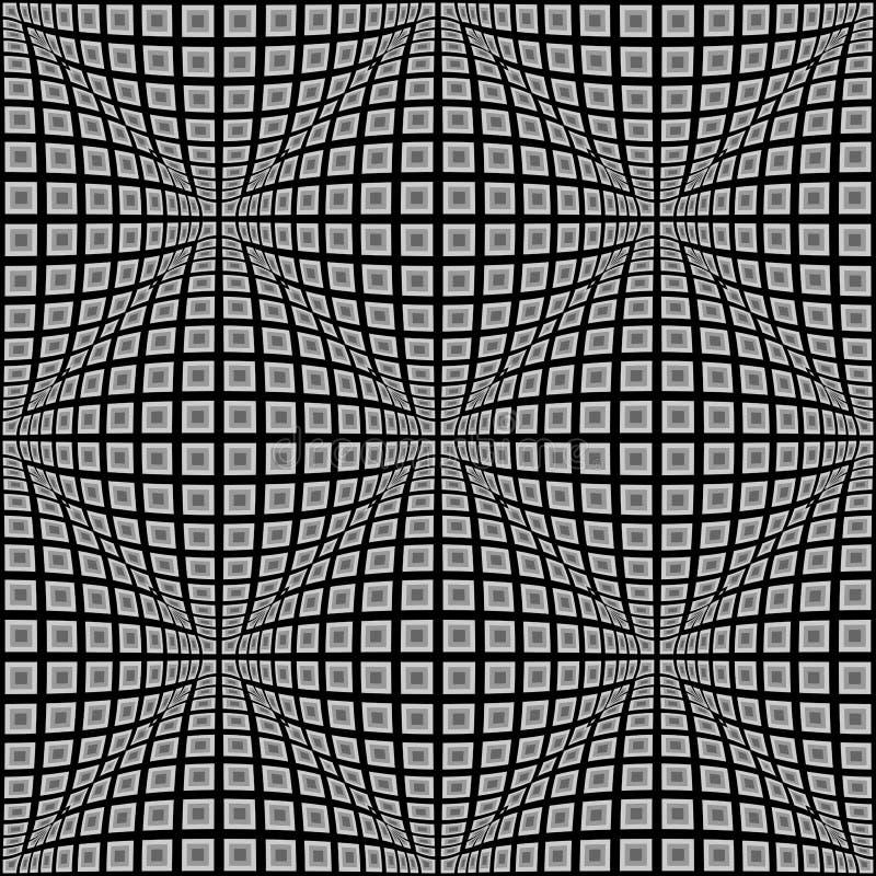 Teste padrão entortado do projeto monochrome sem emenda ilustração do vetor