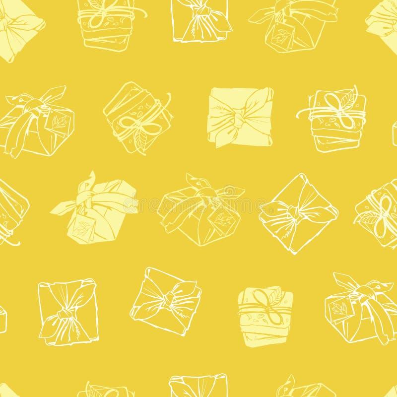 Teste padrão envolvido amarelo da repetição da textura dos pacotes do vetor Apropriado para o papel de embrulho, a matéria têxtil ilustração royalty free