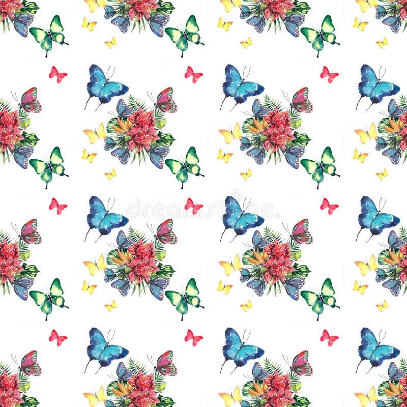 Teste padrão erval floral tropical colorido bonito brilhante bonito do verão de Havaí das flores tropicais e do azul amarelo verd ilustração stock