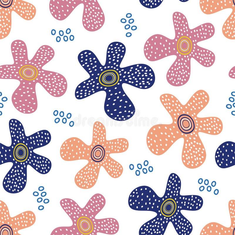 Teste padrão escandinavo da flor com fundo floral original tirado mão das cores pastel dos elementos ilustração royalty free
