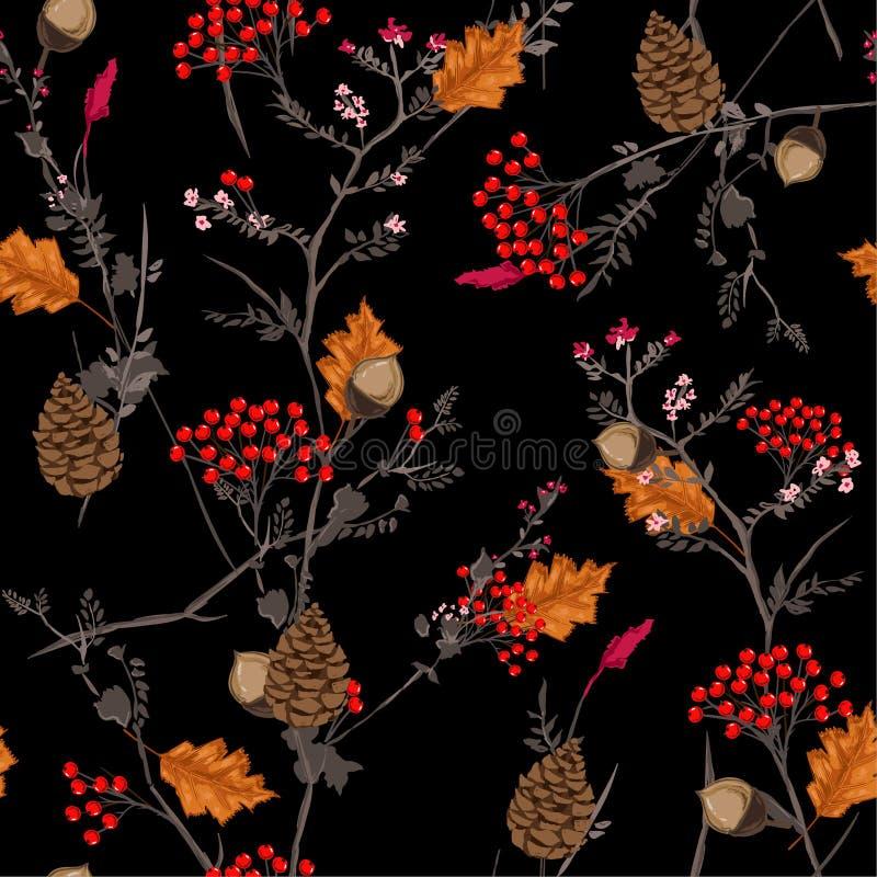 Teste padrão escuro do outono do vetor sem emenda com as bagas vermelhas e alaranjadas, ilustração stock
