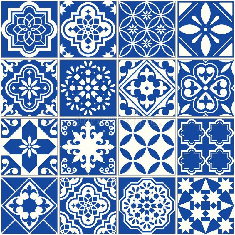 Teste padrão espanhol ou português da telha do vetor, mosaico floral de Lisboa, ornamento sem emenda mediterrâneo dos azuis marin ilustração do vetor