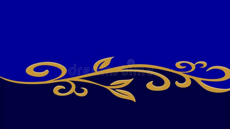 Teste padrão espiral dourado em um fundo azul ilustração royalty free