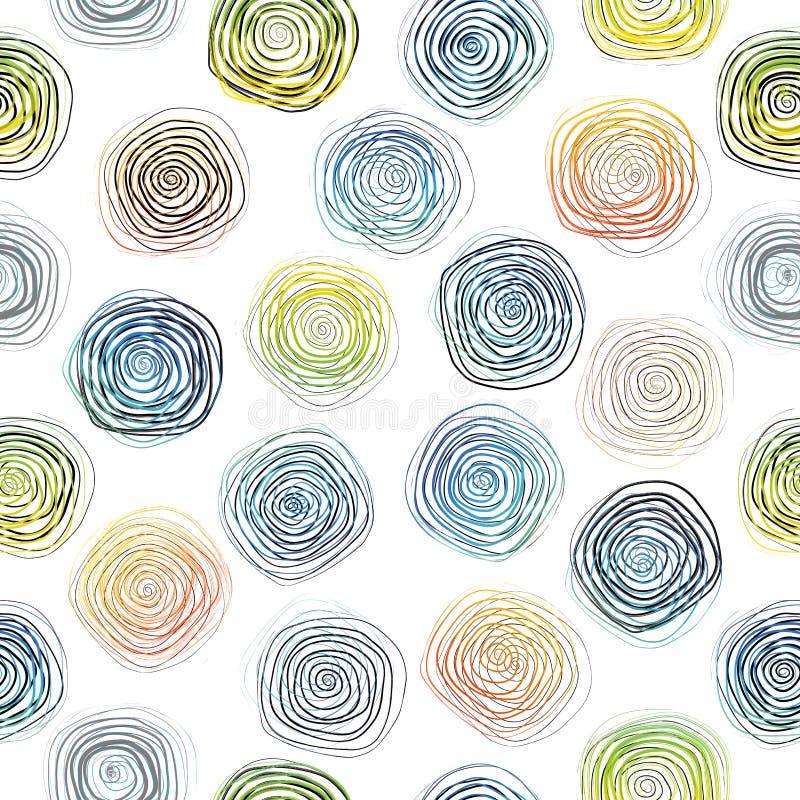 Teste padrão espiral sem emenda monocromático geométrico áspero tirado mão do sumário do vetor em cores preto e branco Seringa do ilustração stock
