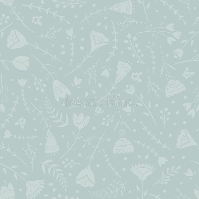 Teste padrão estilizado, arte popular, ornamento floral em cores vermelhas e verdes Fundo sem emenda simétrico do vetor do teste  ilustração do vetor