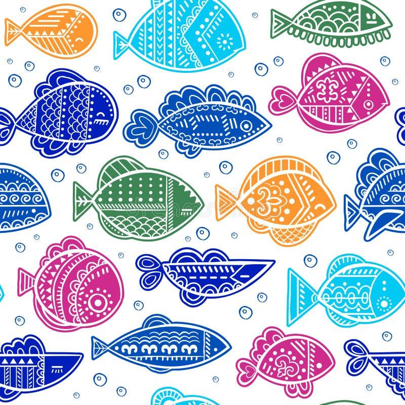 Teste padrão estilizado sem emenda dos peixes do vetor ilustração do vetor