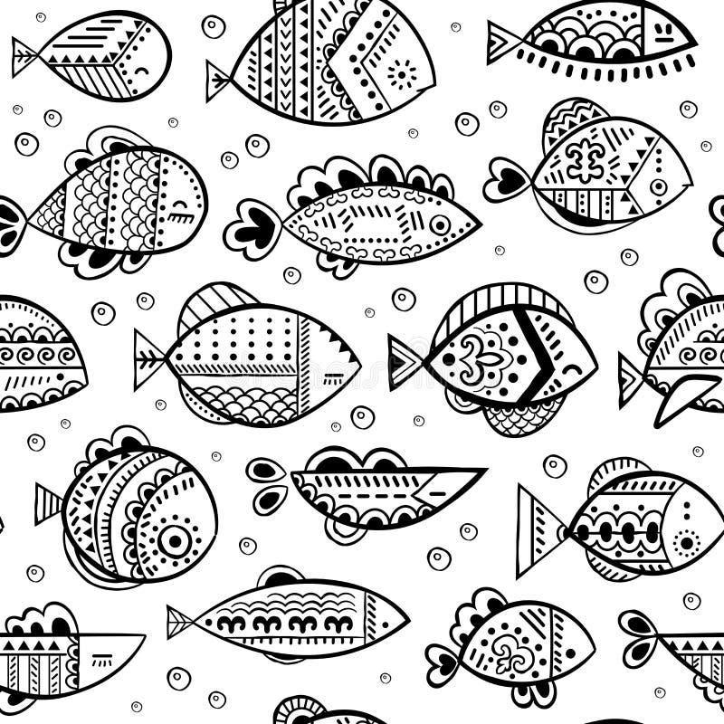 Teste padrão estilizado sem emenda dos peixes do vetor ilustração stock