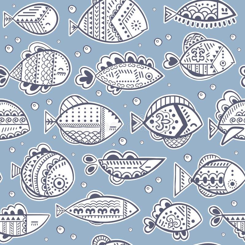 Teste padrão estilizado sem emenda dos peixes do vetor ilustração royalty free