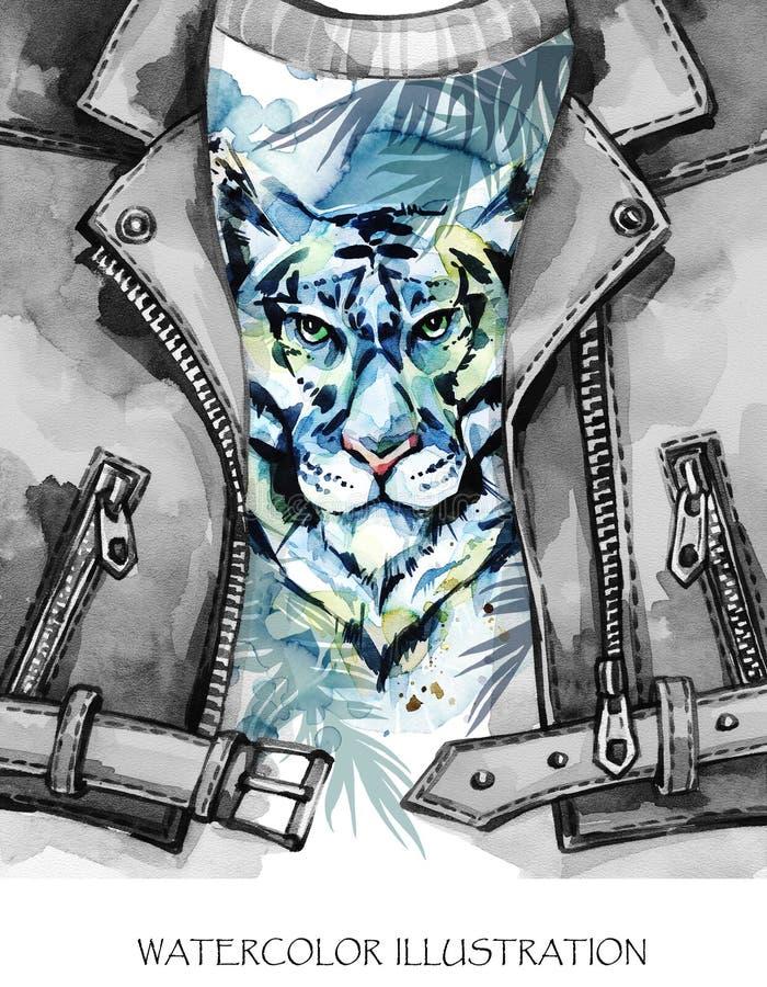 Teste padrão exótico da forma da aquarela Casaco de cabedal pintado à mão com cabeça do tigre e as folhas tropicais Animais afric ilustração royalty free