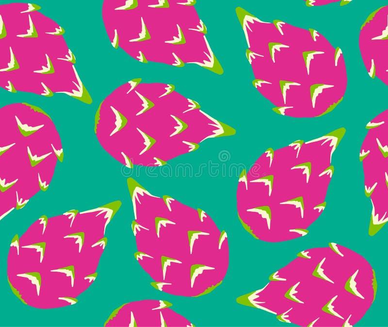 Teste padrão exótico dos frutos no fundo de turquesa imagem de stock
