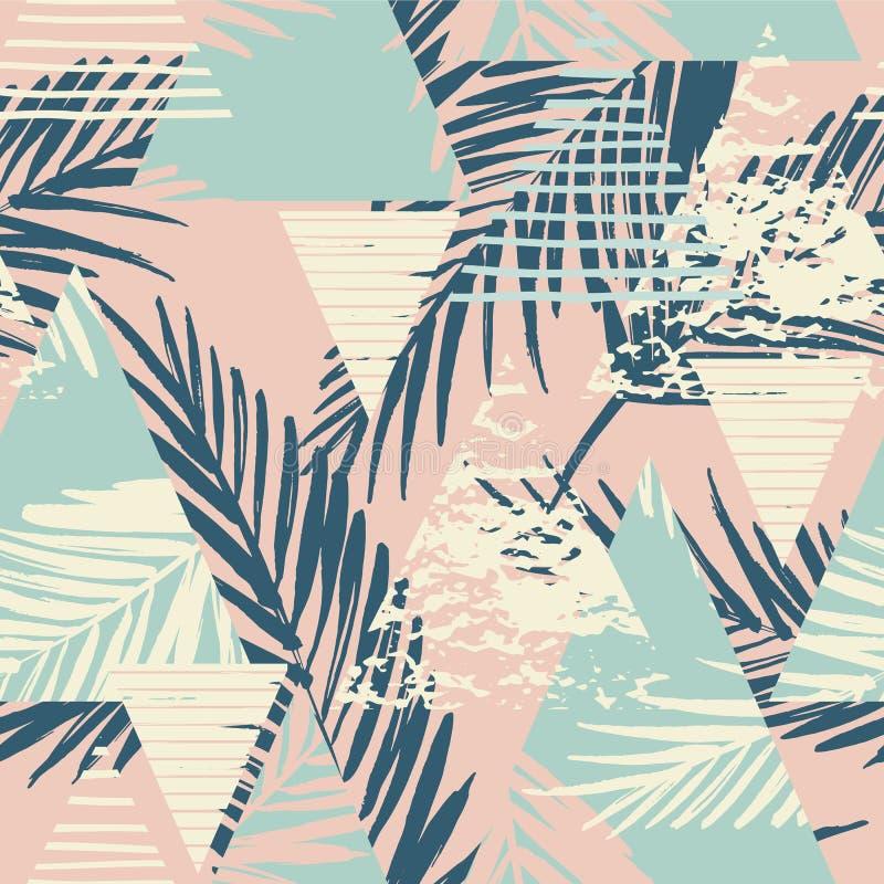 Teste padrão exótico sem emenda com folhas de palmeira no fundo geométrico ilustração do vetor