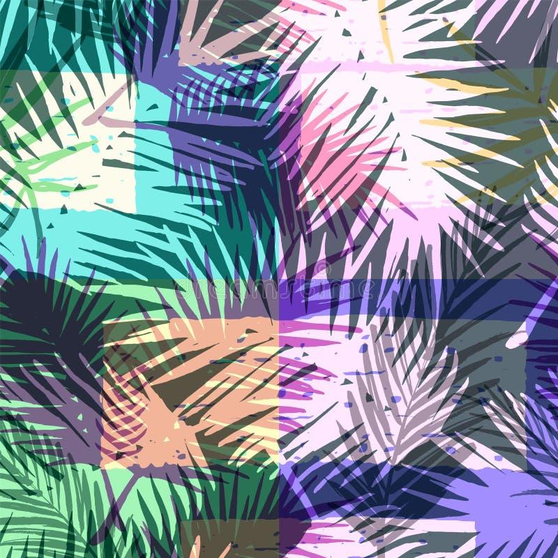 Teste padrão exótico sem emenda com a palma tropical na cor brilhante ilustração stock