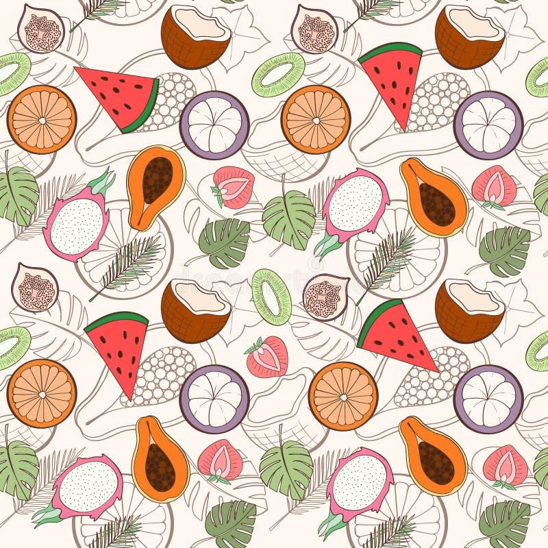 Teste padrão exótico sem emenda do fruto ilustração stock
