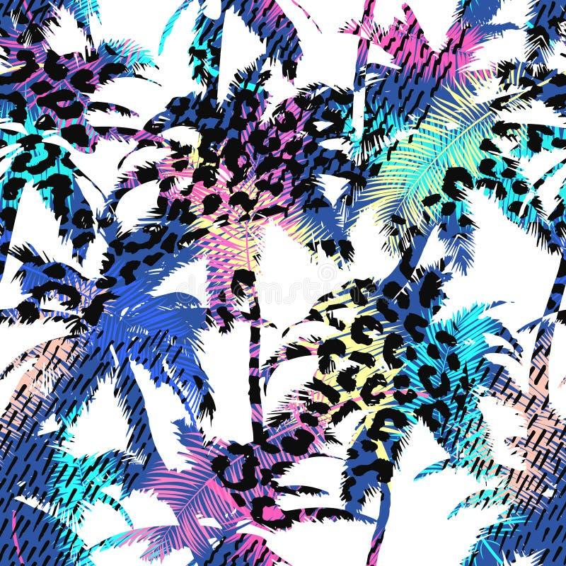 Teste padrão exótico sem emenda na moda colorido com palma, cópias do animal e texturas tiradas mão Projeto abstrato moderno para ilustração do vetor