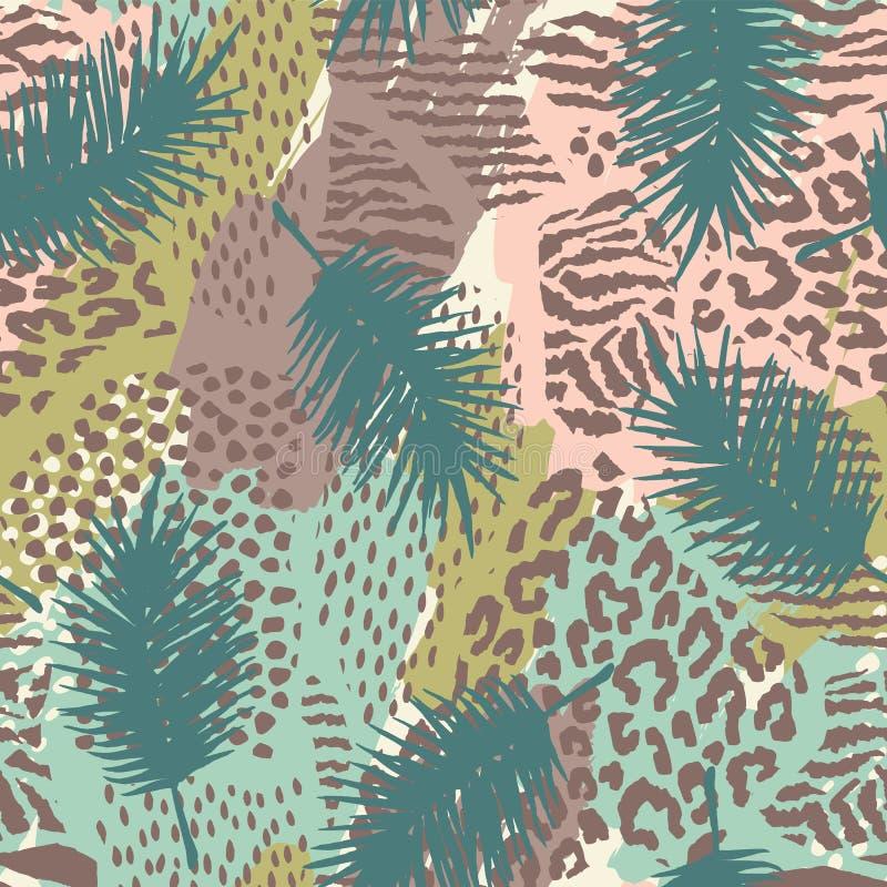 Teste padrão exótico sem emenda na moda com prins da palma e do animal ilustração stock