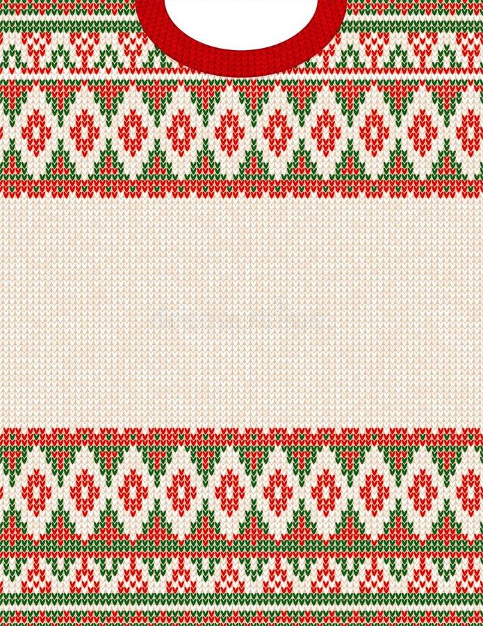 Teste padrão feio feito malha da camiseta do ornamento tribal de Chrismas Cópia asteca étnica ilustração royalty free