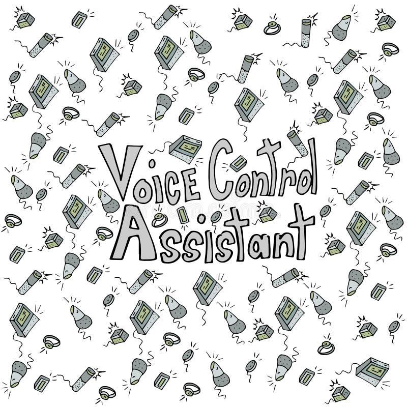 Teste padrão feito a mão do desenho dos assistentes do controle da voz ilustração do vetor