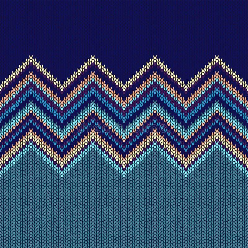 Teste padrão feito malha geométrico étnico sem emenda Estilo Gre amarelo azul ilustração stock