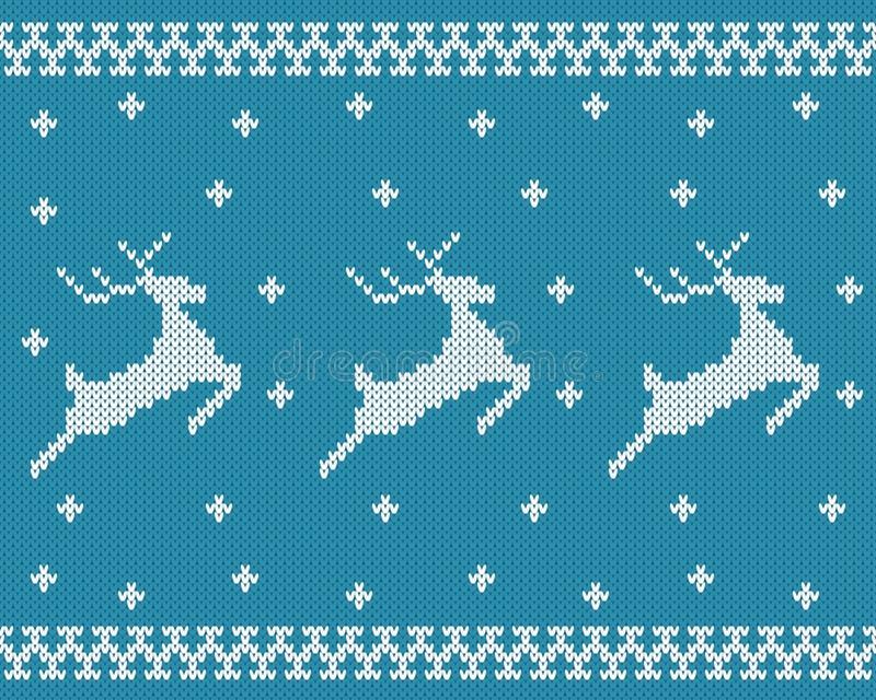 Teste padrão feito malha sem emenda com cervos ilustração stock