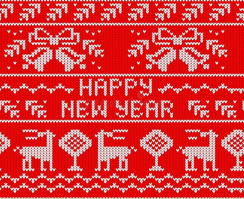 Teste padrão feito malha sem emenda da ligação em ponte vermelha do ano novo feliz com cervos ilustração royalty free