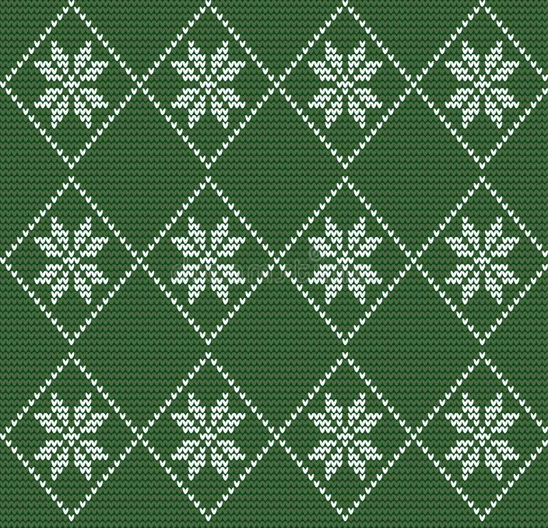 Teste padrão feito malha sem emenda no estilo nórdico com flocos de neve brancos o ilustração stock