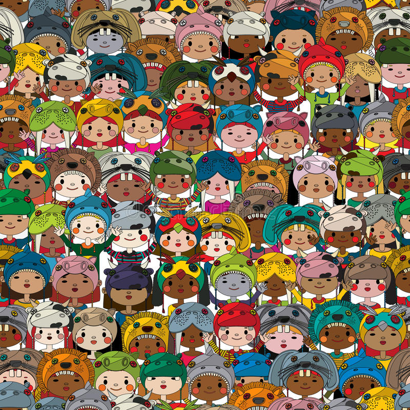 Teste padrão feliz das crianças ilustração royalty free
