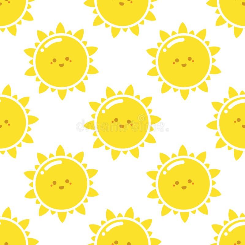 Teste padrão feliz do sol ilustração royalty free
