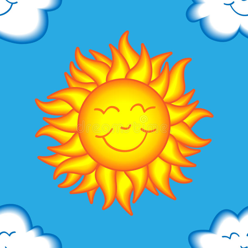 Teste padrão feliz sem emenda do sol e da nuvem ilustração stock