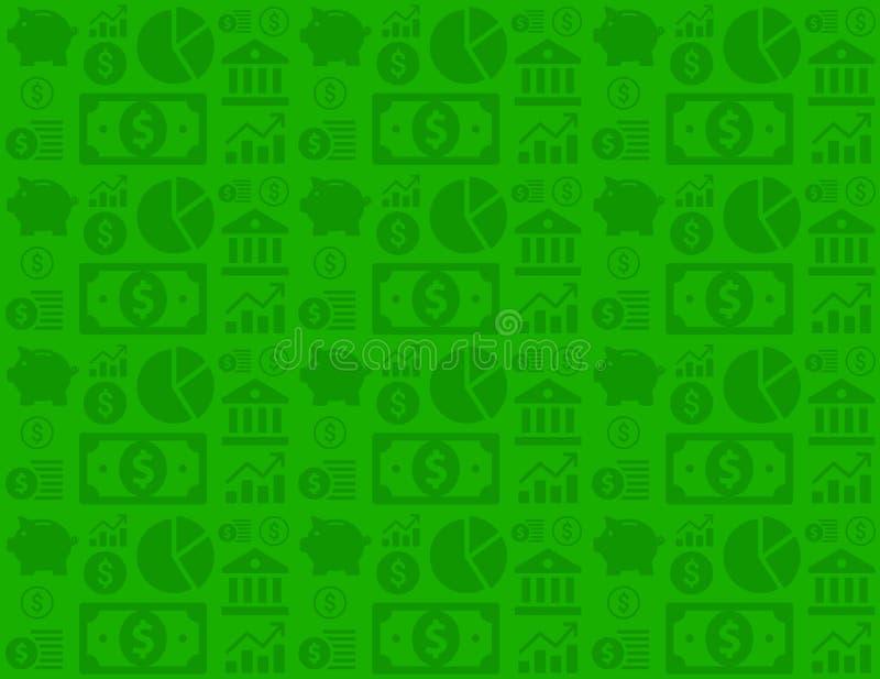 Teste padrão financeiro sem emenda verde do fundo do negócio com ícones do dinheiro imagem de stock royalty free