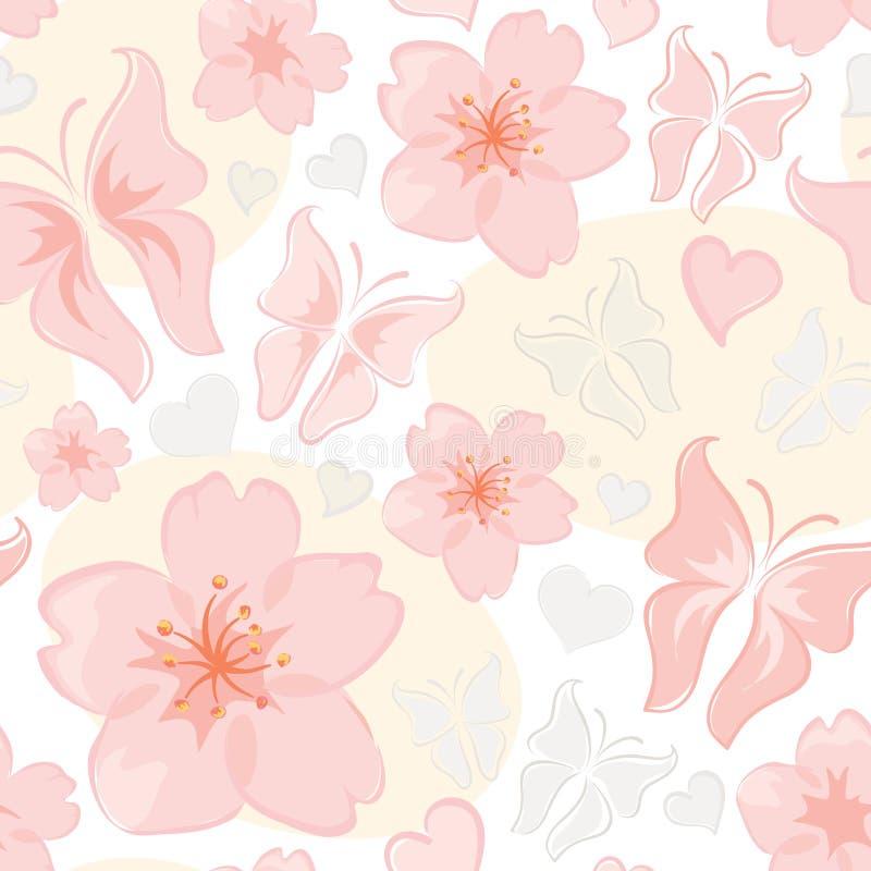 Teste padrão -- flor & borboleta ilustração royalty free