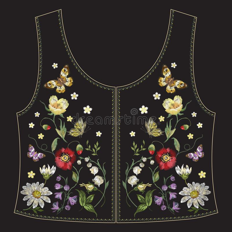 Teste padrão floral étnico da tendência do bordado com papoilas e borboletas para a parte traseira do revestimento das calças de  ilustração do vetor