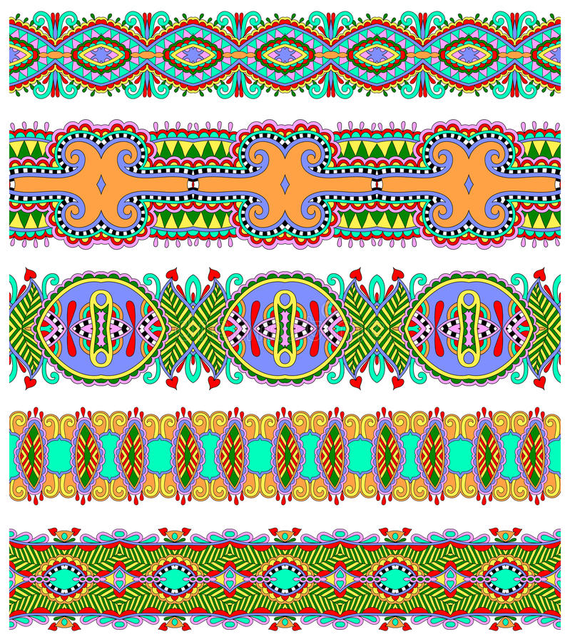 Teste padrão floral étnico sem emenda da listra de paisley ilustração do vetor