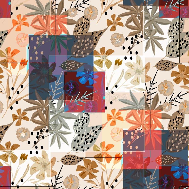 Teste padrão floral abstrato à moda sem emenda patchwork ilustração stock