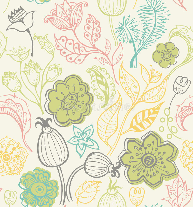 Teste padrão floral abstrato SEM EMENDA ilustração do vetor