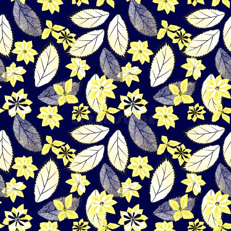 Teste padrão floral abstrato sem emenda Flores amarelas, folhas na obscuridade - fundo azul ilustração royalty free
