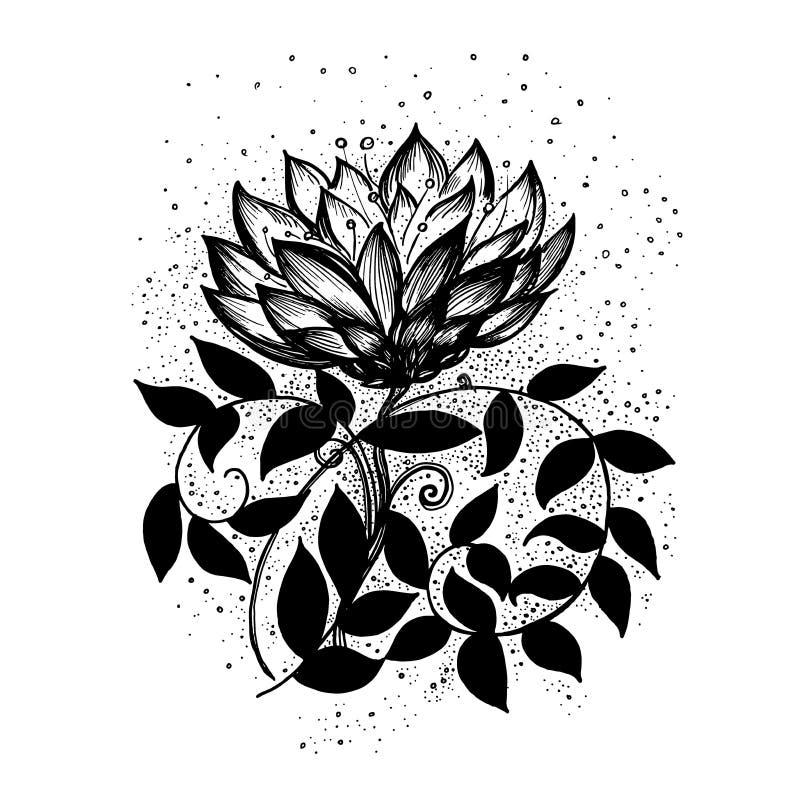 Teste padrão floral abstrato Vector o papel de parede preto e branco do fundo com a flor tirada mão da fantasia ilustração do vetor