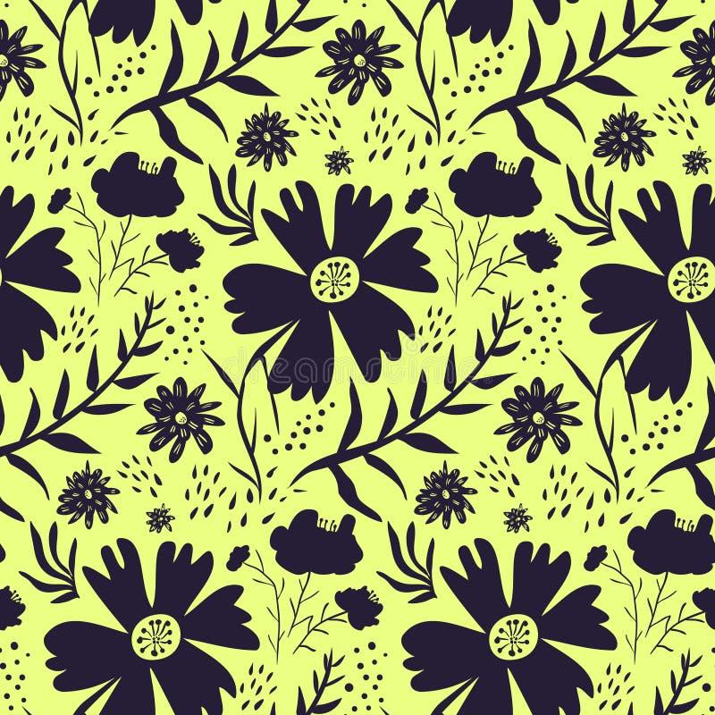 Teste padrão floral amarelo e preto brilhante ilustração do vetor