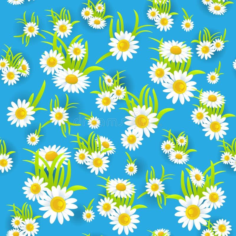 Teste padrão floral azul ilustração do vetor