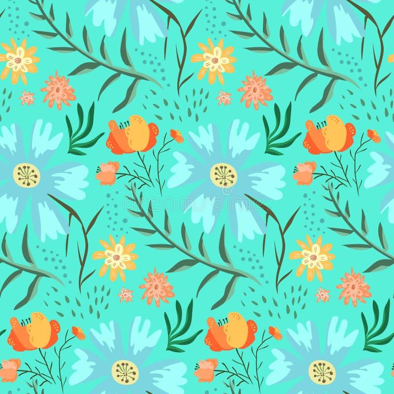 Teste padrão floral azul e verde macio do verão ilustração royalty free