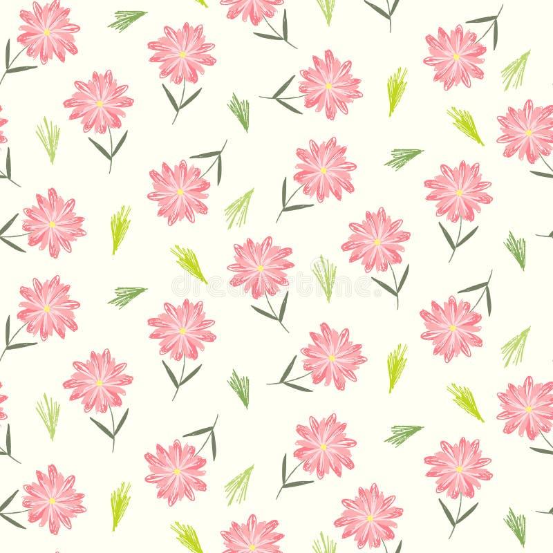 Teste padrão floral bonito com as flores cor-de-rosa criançolas ilustração royalty free