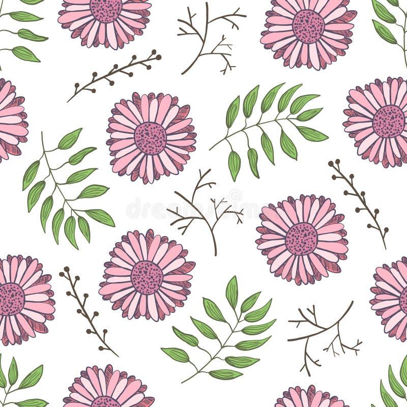 Teste padrão floral bonito com as flores cor-de-rosa macias ilustração stock