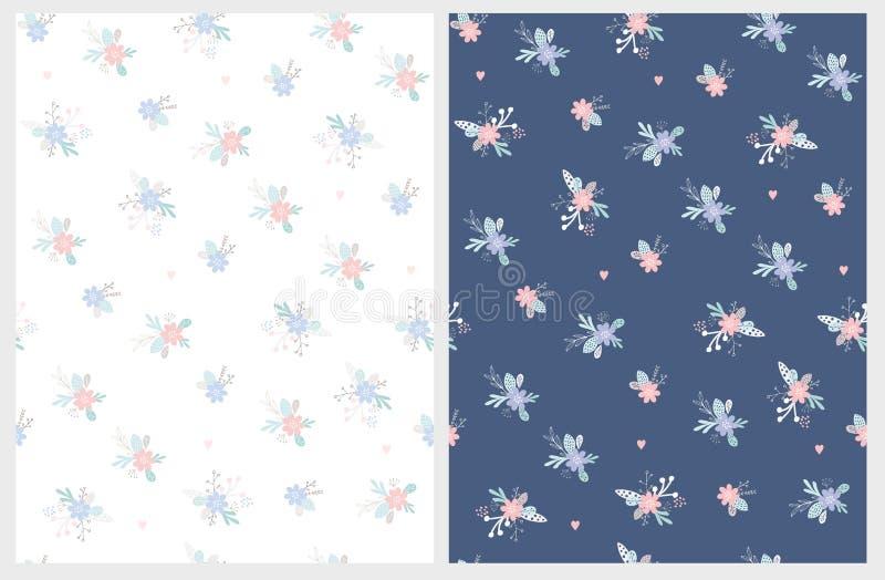 Teste padrão floral bonito do vetor Escuro - fundo azul e branco Cores cor-de-rosa, azuis e brancas ilustração royalty free