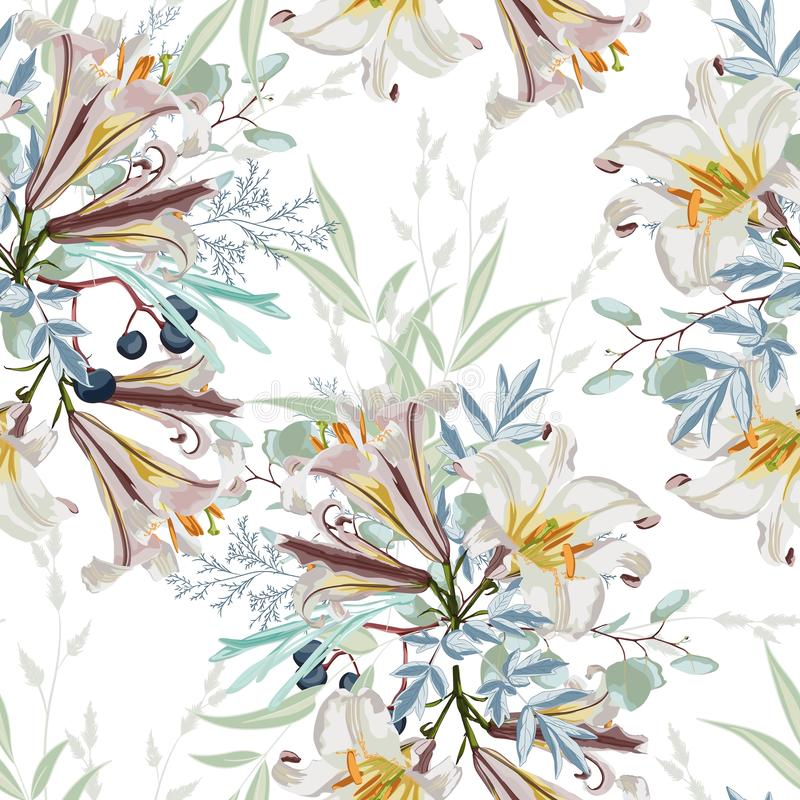 Teste padrão floral branco na moda com os muitos tipo das flores os motivos botânicos dispersaram aleatório ilustração do vetor