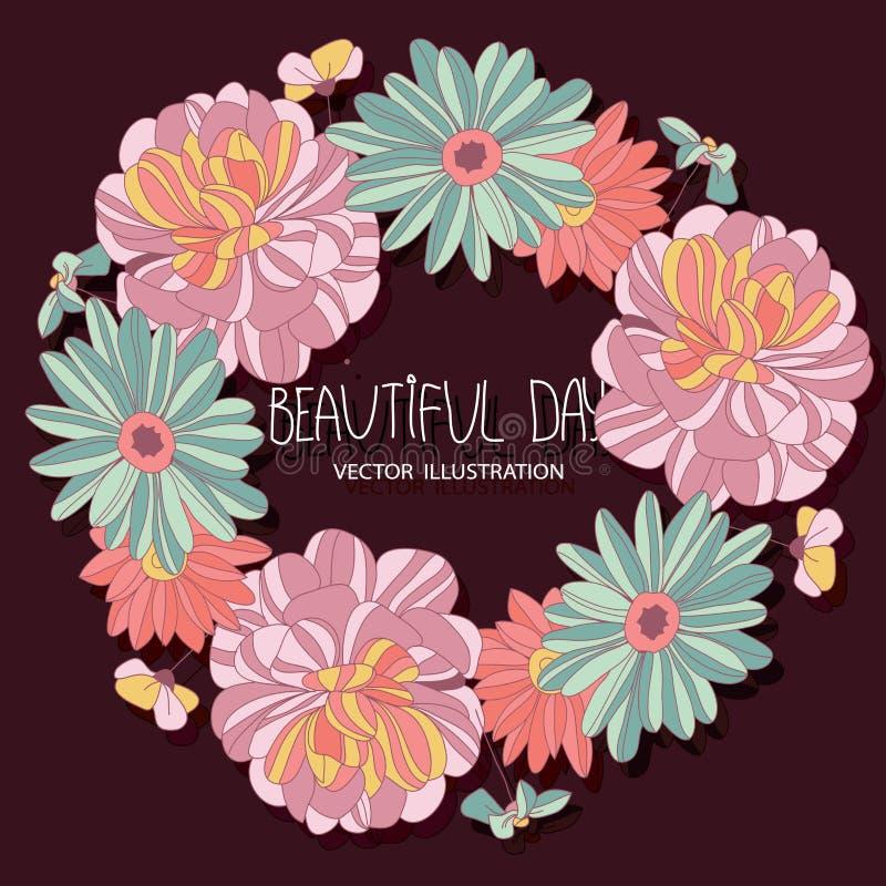 Teste padrão floral brilhante bonito do vetor ilustração stock