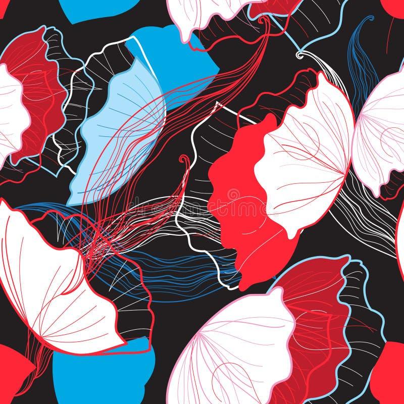 Teste padrão floral brilhante sem emenda ilustração stock