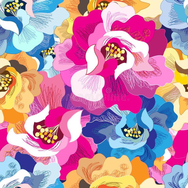 Teste padrão floral brilhante sem emenda ilustração do vetor