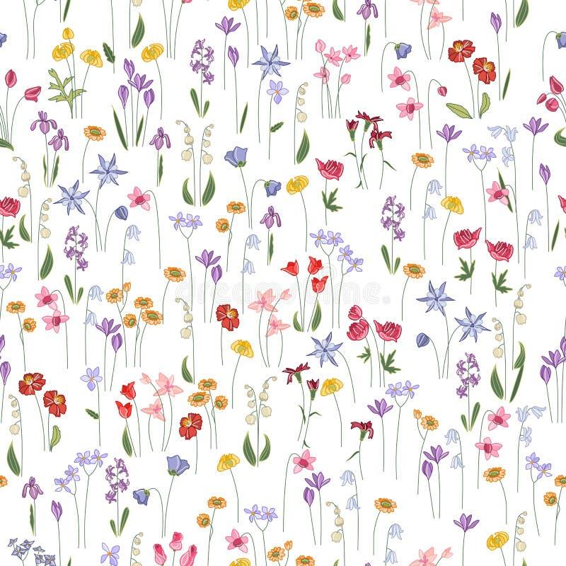 Teste padrão floral brilhante sem emenda com flores diferentes ilustração stock
