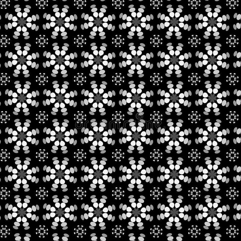 Teste padrão floral calidoscópico em preto e branco ilustração do vetor