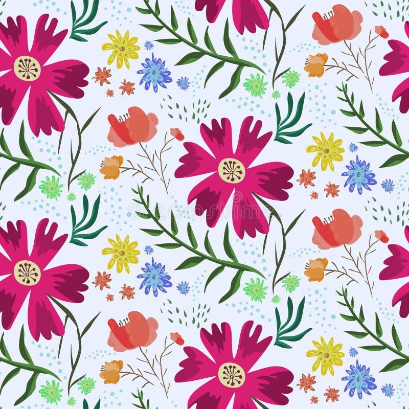 Teste padrão floral colorido brilhante do verão ilustração stock