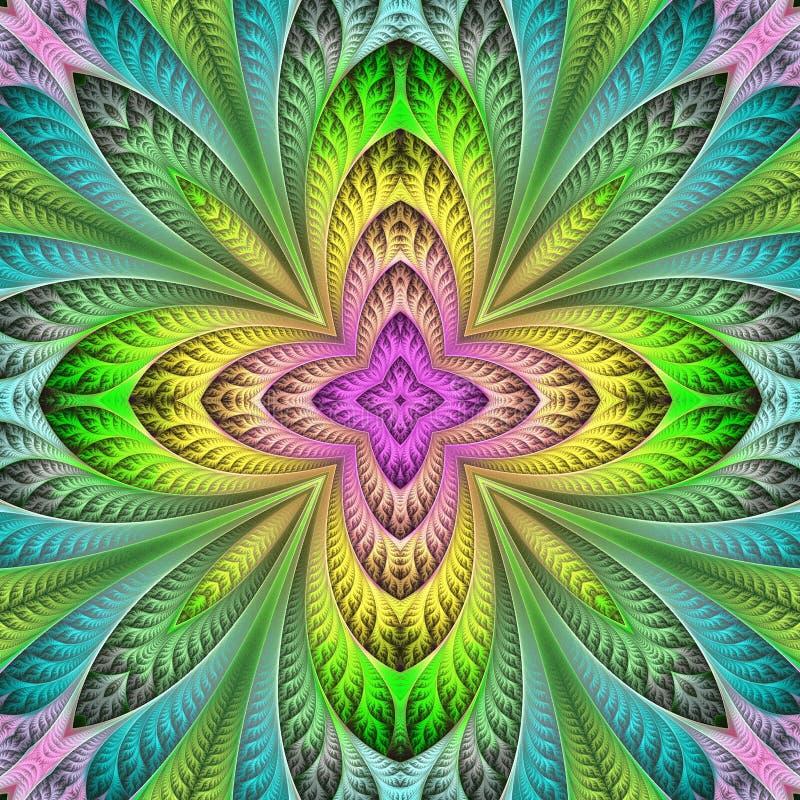 Teste padrão floral colorido no estilo da janela de vidro colorido Você c ilustração do vetor